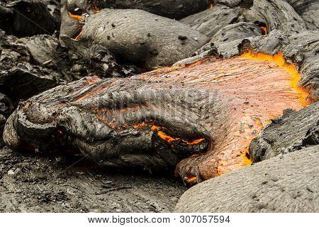 Eruption Of Volcano Tolbachik, Boiling Magma, Close Up Image Of Hot Lava, Kamchatka Peninsula, Russi