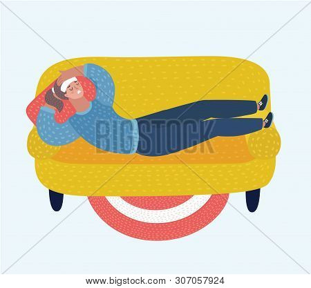 Vector Cartoon Illustration Of Adult Woman Lying On Sofa With Sickness. Sick Female Resting Or Laid