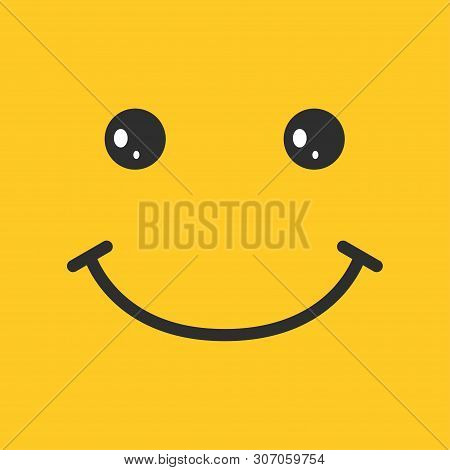 Smile Face Isolated On Yellow Background. Happy Cute Smile Face. Cartoon Emoji Character. Funny Emot