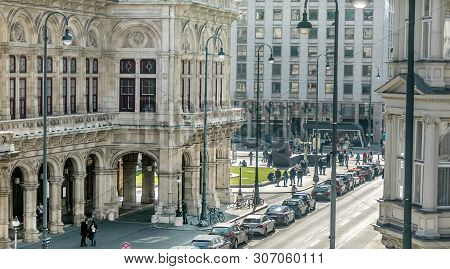 Viena, Austria - March 18, 2019: A Vienna City Landscape, Wide View On The Street