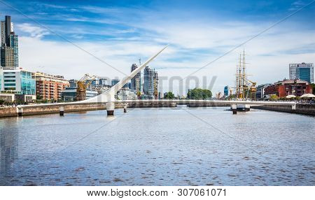 Buenos Aires Argentina - Dec 27, 2018: Bridge at Puerto Madero district on suny day in Buenos Aires, Argentina.