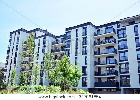 Modern European Residential Apartment Buildings Quarter In City.