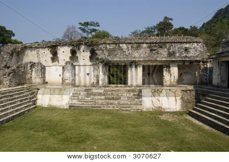 Courtyard Detail Of Castle At Palenque