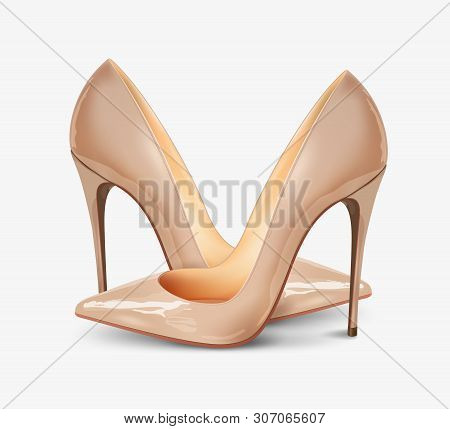 A Pair Of Beautiful Female Pumps On A White Background, Sexy Shoes, Classic. High-heeled Shoes, Nude