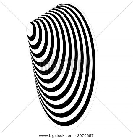 Op Art Concentric Egg Black And White Displaced Over White