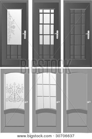 illustration with six doors isolated on white background