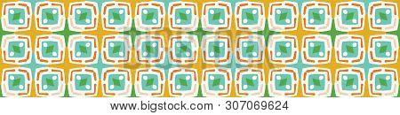 Geometric Squares Dot Shapes Seamless Border Pattern. Vector Banner Background. Retro 1960s Fashion