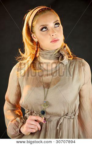 Blond fashion model serious