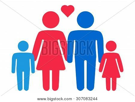 A schematic depiction of a hetero family couple man and woman with children, icon poster