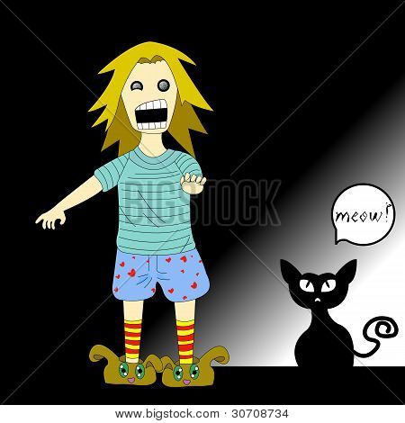 Girl Startled By Her Cat In The Dark