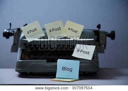 Literature Blogging, Blog And Blogger Or Social Media Concept: Old Typewriter And Stickers.