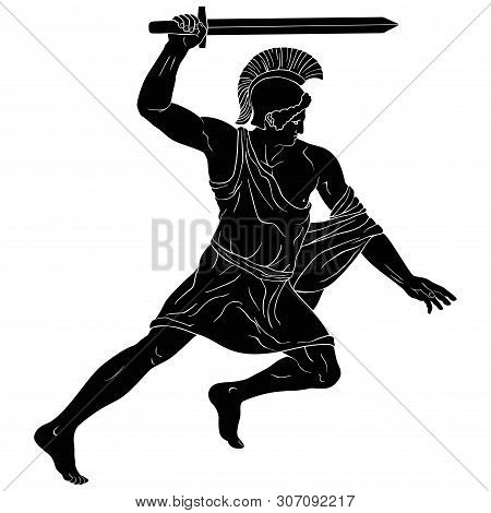 Ancient Greek Warrior With A Sword In His Hands Is Ready To Attack. Vector Illustration Isolated On