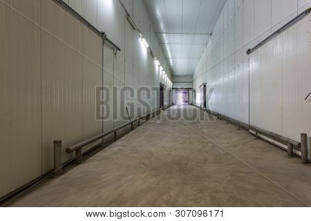 Empty Hangar For Fruits And Vegetables In Storage Stock. Production Warehouse. Plant Industry