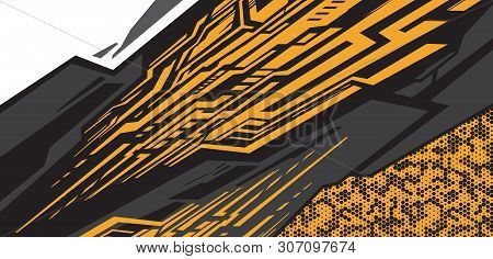 Car Decal Wrap Design Vector. Graphic Abstract Stripe Racing Background Kit Designs For Vehicle, Rac