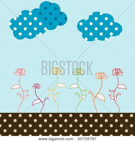 Retro Flower Garden Illustration