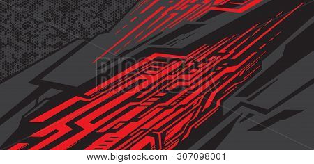 Sport Car Decal Wrap Design Vector. Graphic Abstract Stripe Racing Background Kit Designs For Vehicl