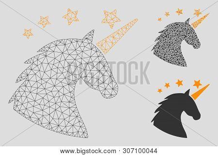 Mesh Unicorn Head Model With Triangle Mosaic Icon. Wire Carcass Polygonal Mesh Of Unicorn Head. Vect