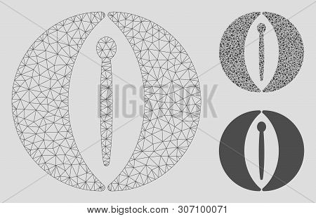 Mesh Female Genitals Model With Triangle Mosaic Icon. Wire Carcass Triangular Network Of Female Geni