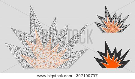 Mesh Explosion Boom Model With Triangle Mosaic Icon. Wire Carcass Polygonal Mesh Of Explosion Boom.