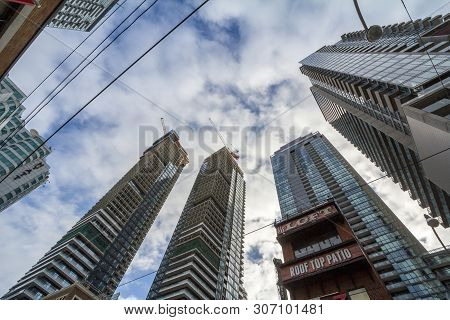 Toronto, Canada - November 14, 2018: Construction Sites Of Rise Condo Apartment Building Towers On Q