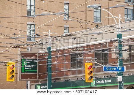 Toronto, Canada - November 14, 2018: Traffic Light Abiding By American Standard Regulations Taken At