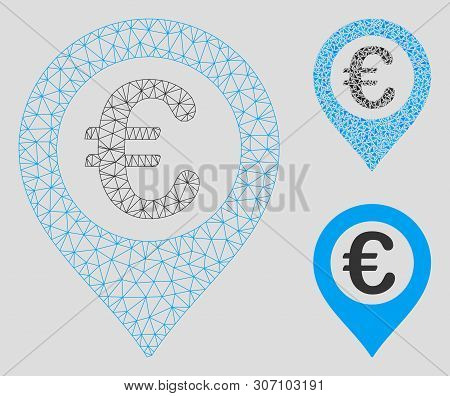 Mesh Euro Pushpin Model With Triangle Mosaic Icon. Wire Carcass Polygonal Network Of Euro Pushpin. V