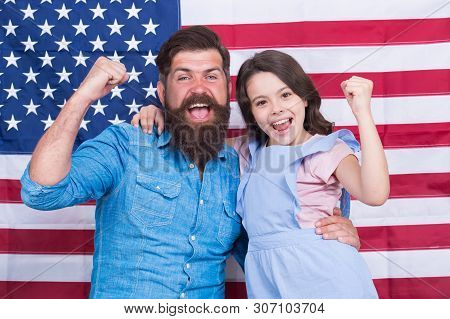 Proud To Be Americans. Happy American Family Celebrating Independence Day. Bearded Man And Little Ch
