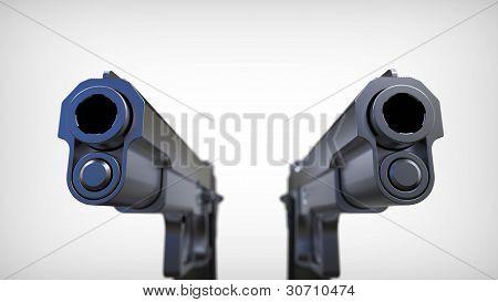 Isolated pistols on white background.