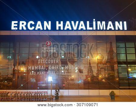 Nicosia (lefkosa), Cyprus - June 11, 2019:  Ercan International Airport ( Ercan Havalimani ) Termina
