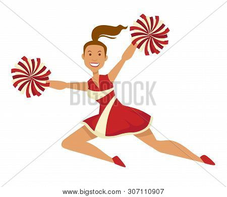 Cheerleader In Uniform With Pompoms Sport And Cheering Up Team
