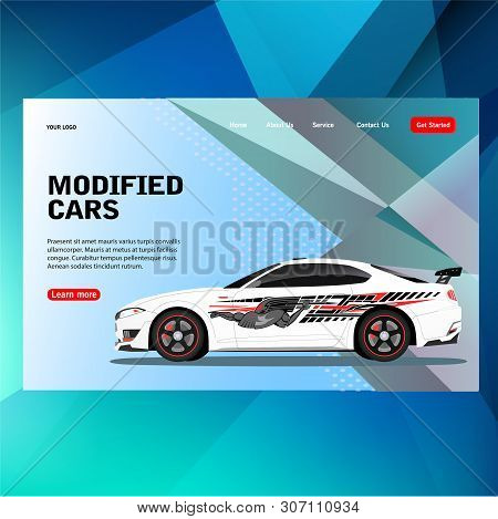 Modern Futuristic Template Concept Sticker Decal Race Contest Car With Modified Car Vector Illustrat