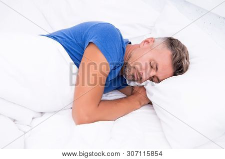 Sleeping Beauty. Man Handsome Guy Lay In Bed. Get Enough Amount Of Sleep Every Night. Tips Sleeping