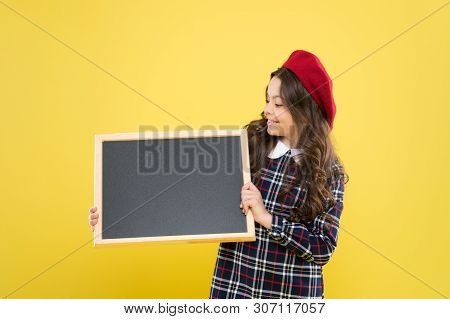 Informing you. Expect the unexpected. Child promo information board. Place for information. Girl hold blank blackboard. Advertising product copy space. Back to school concept. School information. poster
