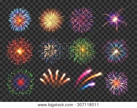 Big Set Of Various Fireworks With Brightly Shining Sparks. Colorful Pyrotechnics Show. Realistic Fir