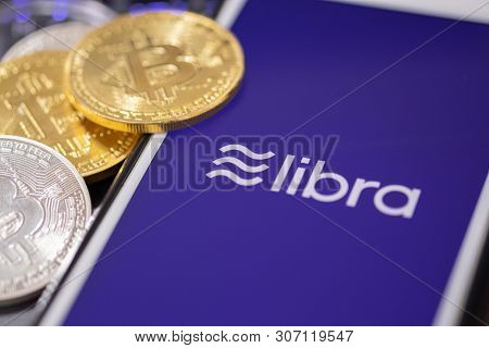 Chiang Mai,thailand - June 19,2019: Libra Facebook Cryptocurrency And Bitcoin Cryptocurrency, Libra