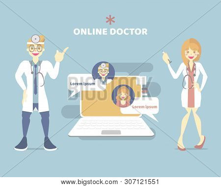 telemedicine doctor, online health care chat with male and female doctor, telehealth concept, flat vector illustration cartoon character design clip art