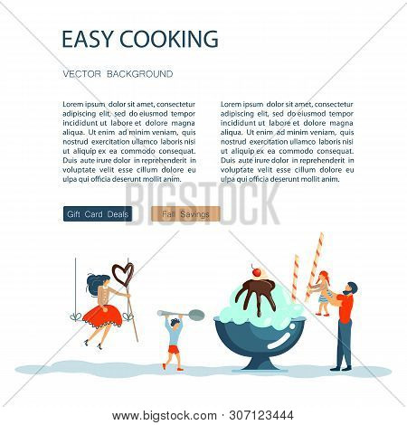 Easy Cooking Landing Page Website Template. Father Mother With Their Kids Preparing Ice Cream Togeth