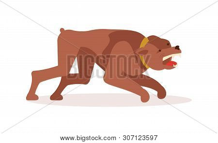 Aggressive dangerous dog attack. Big pooch infected by rabies isolated on white background. Flat Art Vector illustration poster