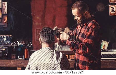 Man Visiting Hairstylist In Barbershop. Bearded Man In Barbershop. Work In The Barber Shop. Man Hair