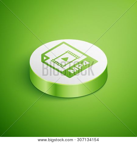 Isometric Mp4 File Document Icon. Download Mp4 Button Icon Isolated On Green Background. Mp4 File Sy