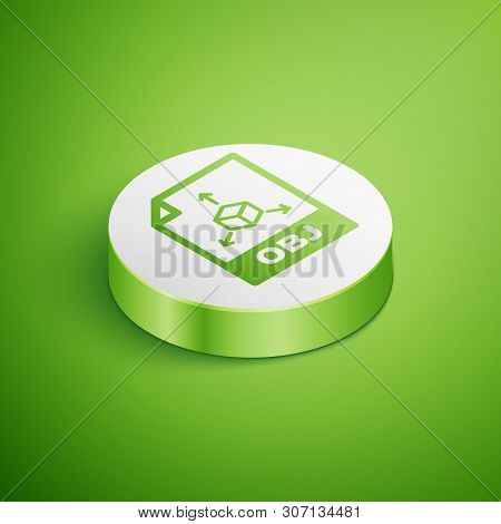 Isometric Obj File Document Icon. Download Obj Button Icon Isolated On Green Background. Obj File Sy