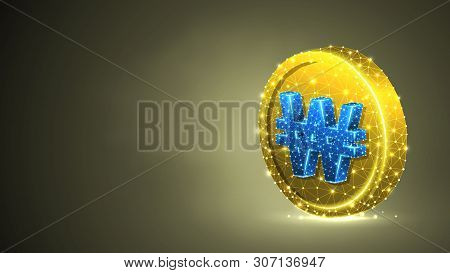 Golden Coin, South Korean Won Currency. Polygonal Business, Money, Currency, Cash, Circle Concept. A