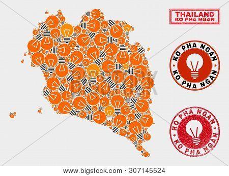 Electric Bulb Mosaic Ko Pha Ngan Map And Rubber Rounded Seals. Mosaic Vector Ko Pha Ngan Map Is Comp