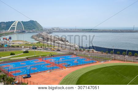 Keelung, Taiwan - September 7, 2018: Sport Fields Of National Taiwan Ocean University