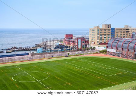 Keelung, Taiwan - September 7, 2018: Soccer Field Of National Taiwan Ocean University