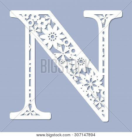 Laser Cutting Pattern. Letter N. Decorative Letters Of The Alphabet. The Initial Letters Of The Mono