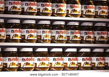 Tel Aviv, Israel - 26 November 2017: Background With Cans Of Chocolate Nutty Pasta Nutella Attractio