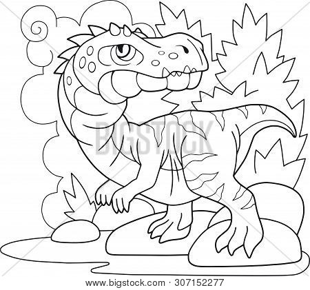 Cartoon Prehistoric Dinosaur Baryonyx, Coloring Book, Funny Illustration