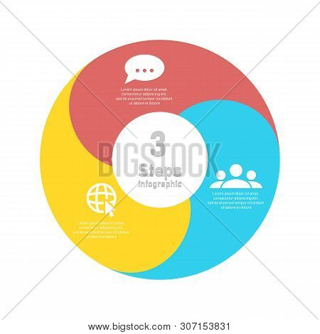 Round Spiral Infographic Template For Circle Diagram, Options, Web Design, Graph. Business Concept W