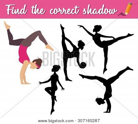 Find The Correct Shadow. Educational Matching Game For Children With Cartoon Girl Making Sport. Yoga